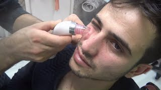 ASMR TURKISH BARBER asmr cleanse skin oils cleaning blackheads facial vaporizer gold black mask