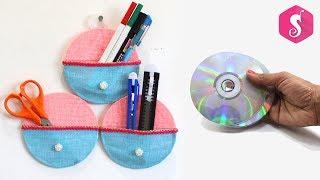 WASTE CD/DVD Crafts !!! MAKE HOMEMADE ORGANIZER from CDs
