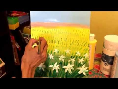 "Shyama's Art- Landscape Painting on ""Spring"" using Acrylic Paint- Part 2"