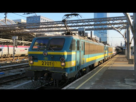 Belgium: X2 NMBS/SNCB Class 27s Leave Bruxelles-Midi (Brussels-South) Station
