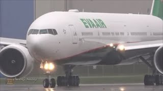 new livery eva air boeing 777 300er departure into heavy fog bank kpae paine field