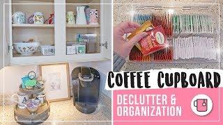 Coffee Cupboard Organization | Mug Declutter | Coffee Station & Tea Organization Ideas