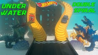 Hot Wheels fat track swimming pool underwater double spiral exotics vs street cars tournament race
