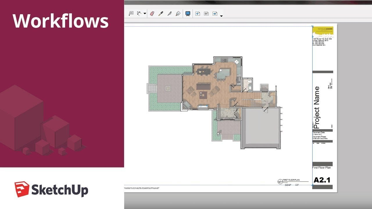 Sketchup for construction documentation layout floor plans template youtube for How to design a floor plan in sketchup