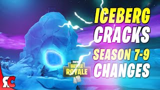 Polar Peak through the Seasons ICEBERG cracks to reveal new layer (Fortnite Season 9 Map Changes)