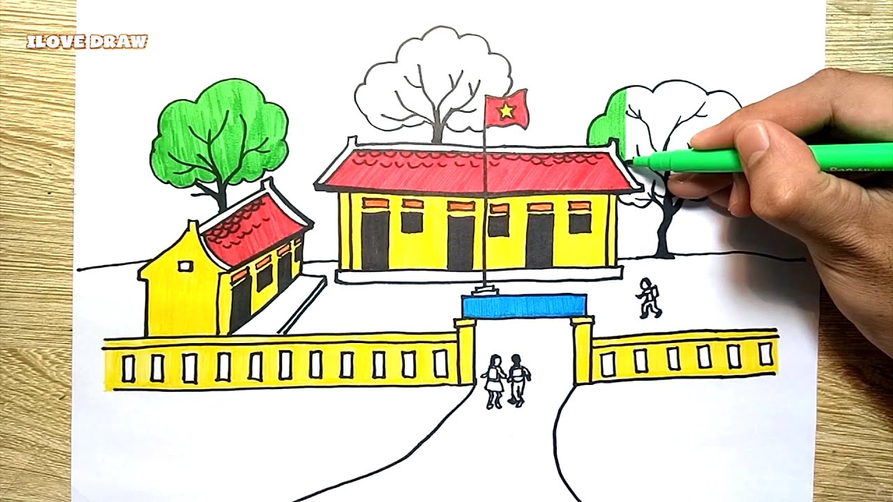 Vẽ Tranh Ngôi Trường Của Em – Vẽ Ngôi Trường – How To Draw My School and Coloring for children