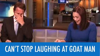 News Anchors Can't Stop Laughing At Goat Man