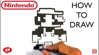 How to Draw Mario - 8 Bit- Easy Pictures to Draw