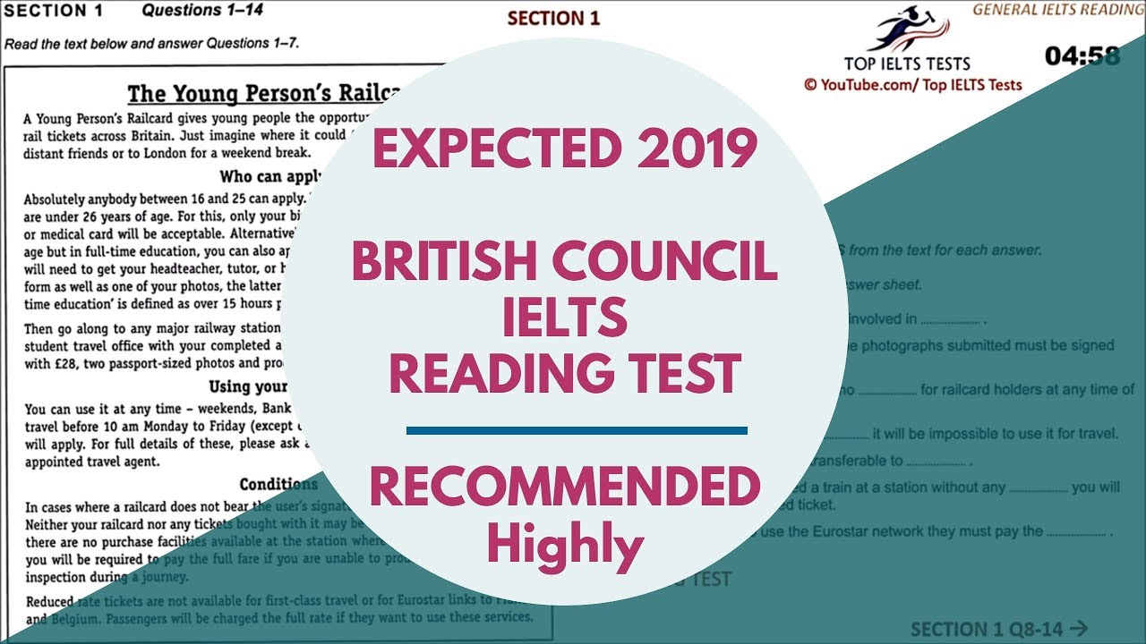 British Council 🎌 IELTS GENERAL READING TEST 2019 with ANSWERS 🔥