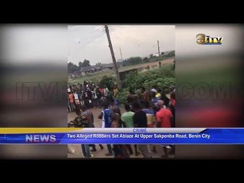 Download Two alleged robbers st ablaze at Upper Sakponba, Benin