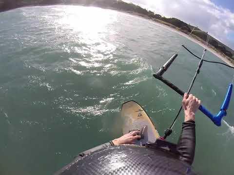 Kitesurfing on DIY Home Made Kite Foil (Fibreglass over wood)