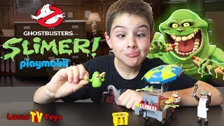 Ghostbusters Playset - Slimer and Hot Dog Cart by Playmobile with Slime Splatter