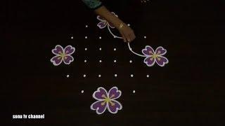 8 Dots rangoli ||simple rangoli ||flower rangoli||deepam rangoli||festival rangoli||