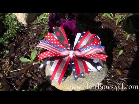 American Holiday Red White and Blue Pinwheel Hair Bow - video demo