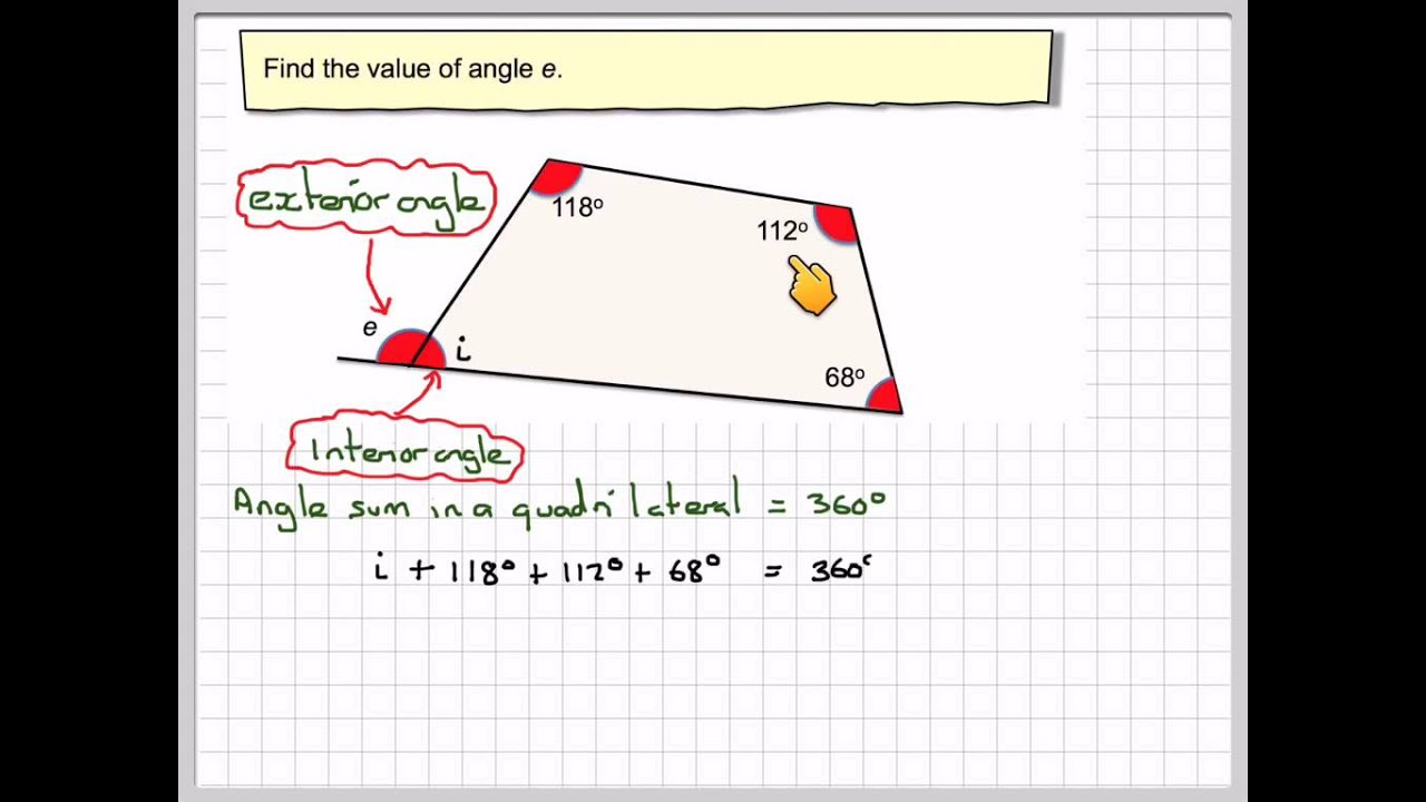 Finding The Exterior Angle Of A Quadrilateral Youtube