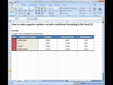 Microsoft Excel Training How To Make Negative Numbers Red