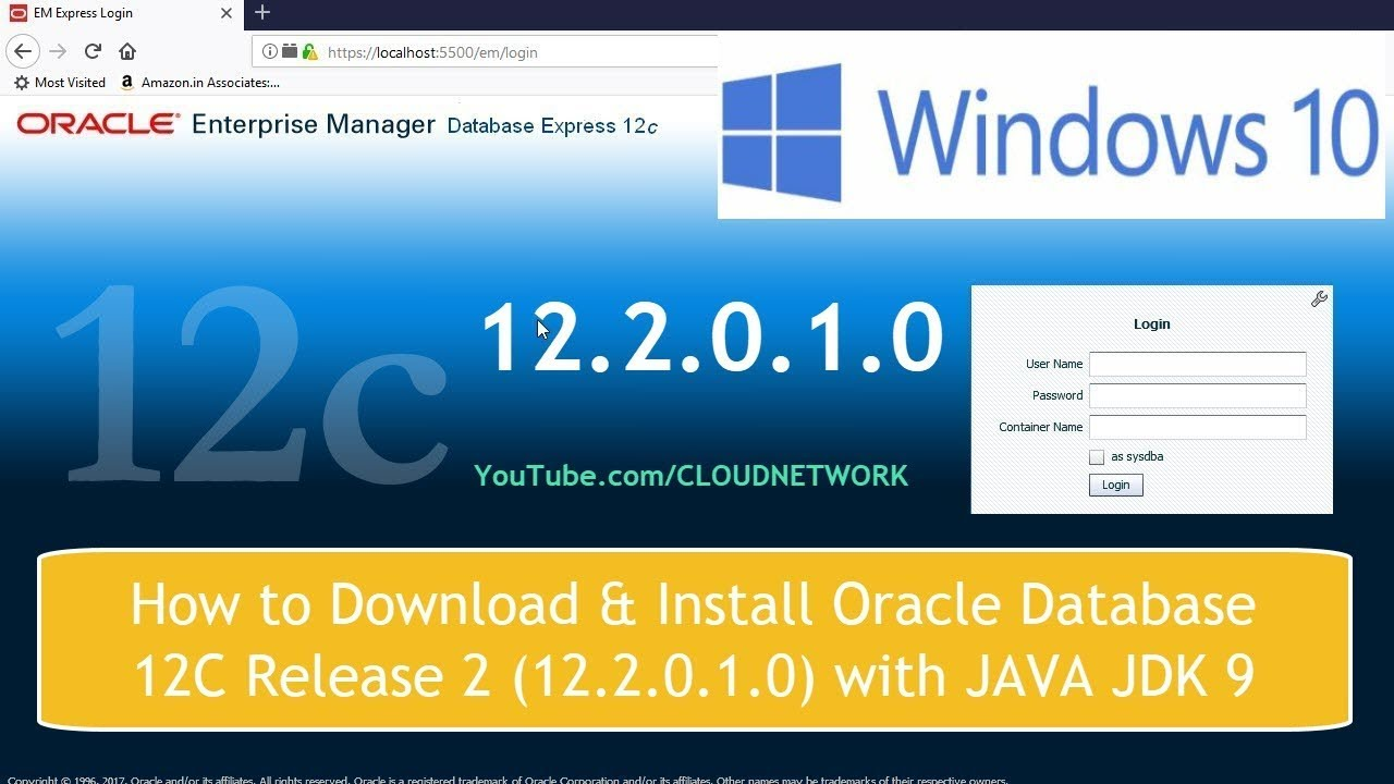 How to Download & Install Oracle Database 12C Release 2 (12 2 0 1 0) with  JAVA JDK 9 in windows 10
