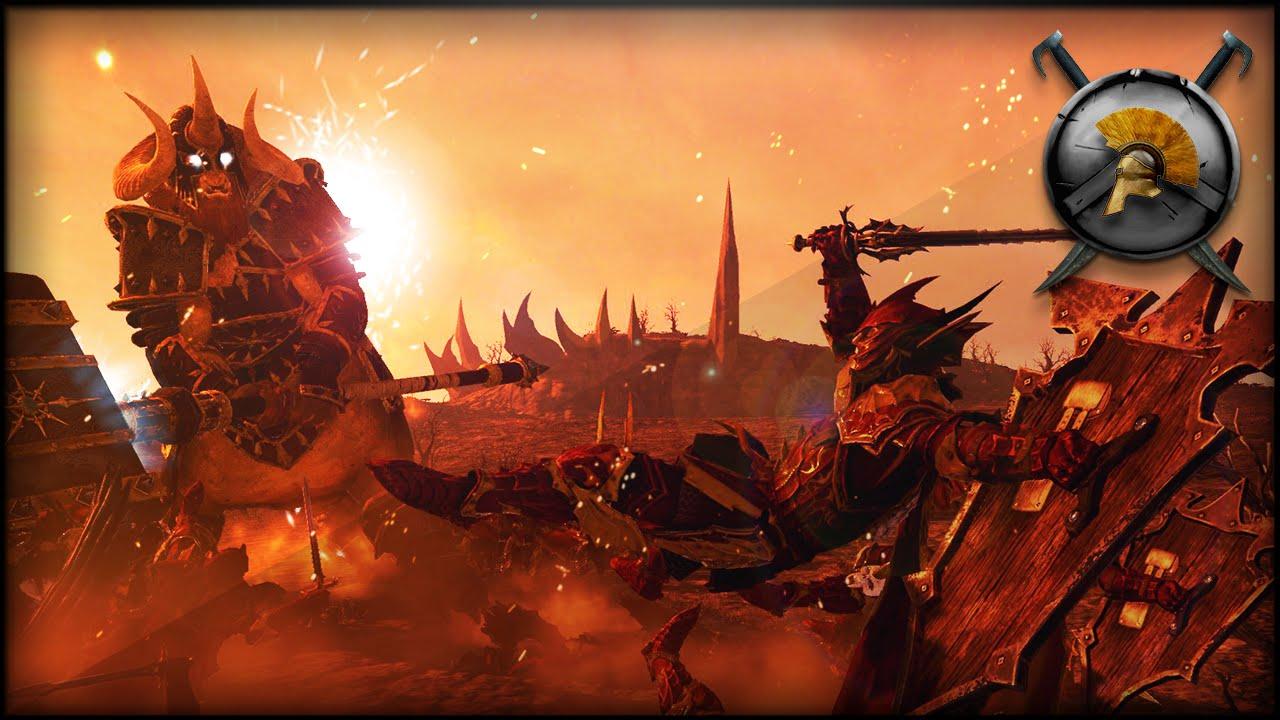 Blood Knights Vs Giant Kholek Total War Warhammer Mod Gameplay