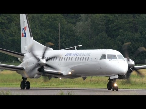 Saab 2000 Braathens Regional Take Off at Bern Airport - Nice Turboprop Sounds!