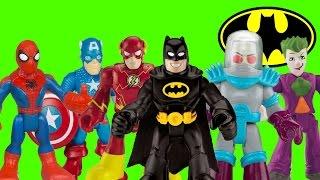 Batman Captain America Spider-Man and Iron Man vs Mr Freeze and Joker imaginext toys spiderman