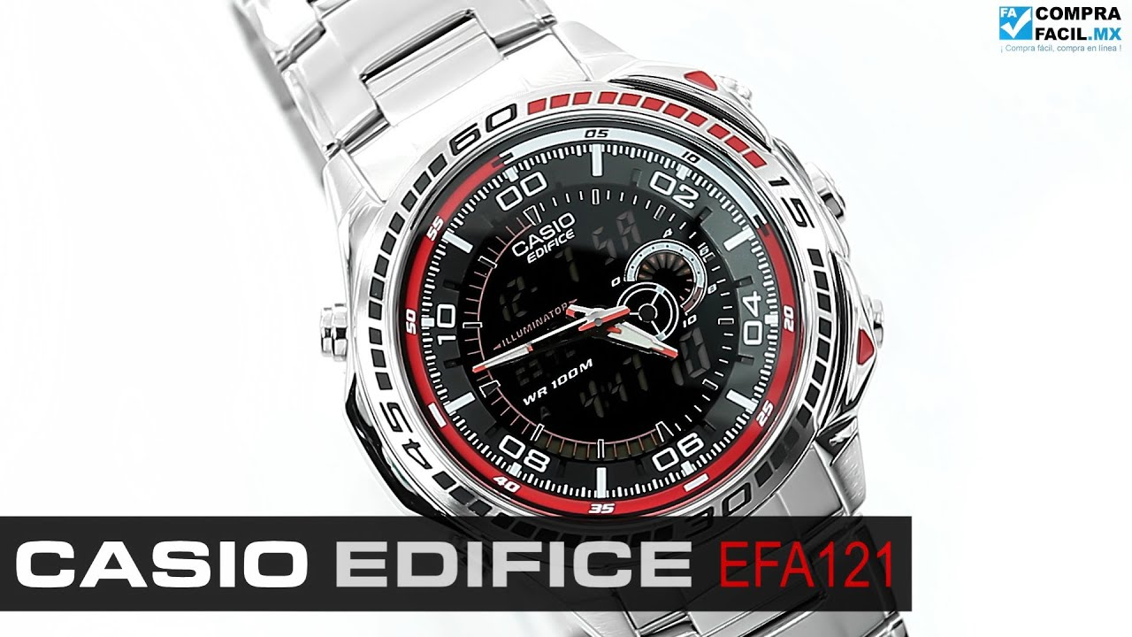 b942bf9c866 Reloj Casio Edifice EFA121 Negro - www.CompraFacil.mx - YouTube