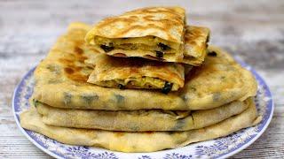 Лепешки с сыром творогом и зеленым луком
