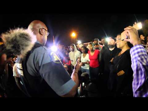 Day 52 - Captain Ron Johnson comes out to talk with protestors (Ferguson)