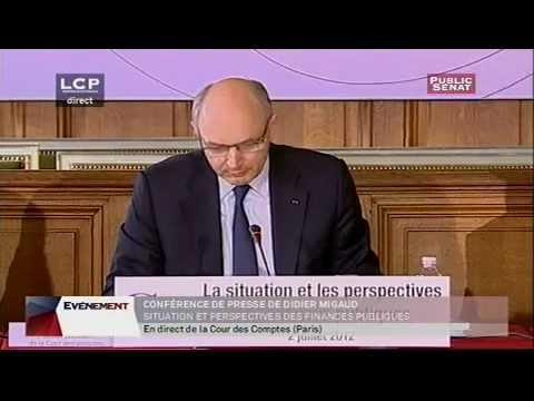 Conférence de presse de Didier Migaud, situation et perpectives des finances publiques