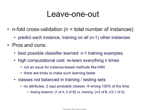 IAML8.10 Leave-one-out cross-validation