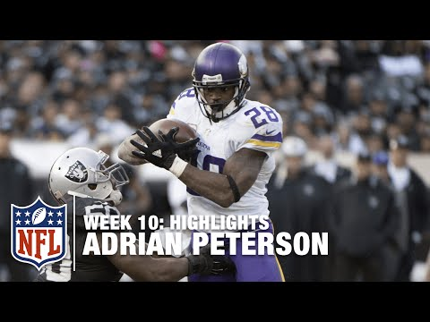 Adrian Peterson Highlights (Record-Breaking Week 10) | Vikings vs. Raiders | NFL