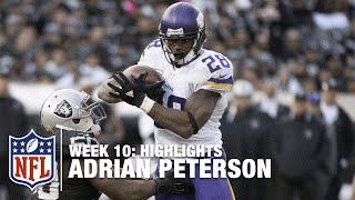Adrian Peterson Highlights (Record-Breaking Week 10)   Vikings vs. Raiders   NFL