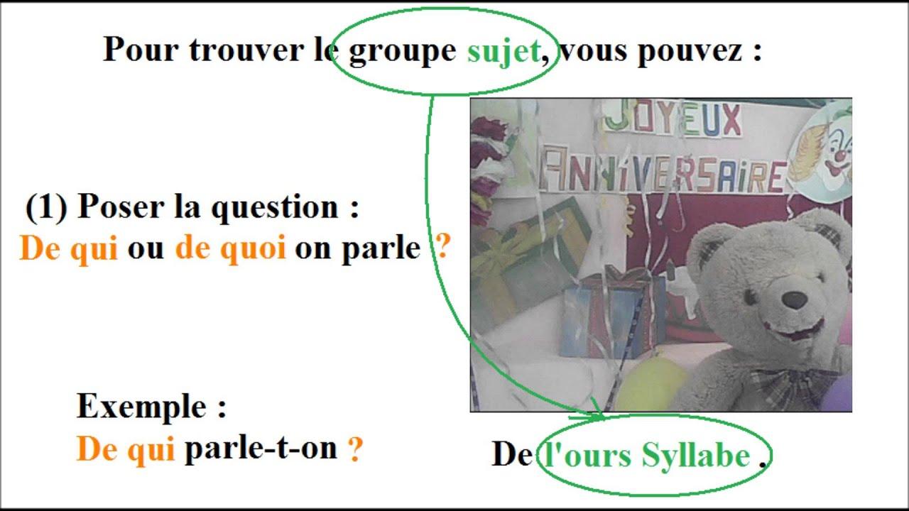 Cours français ce2 | Les groupes sujet et verbal dans la ...