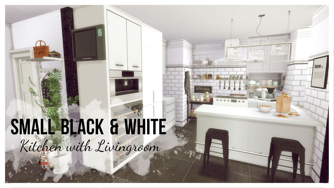 Sims 4 - Small Black & White Kitchen with Livingroom (Room + Mods ...
