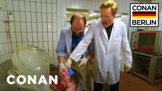 If there's one man who was born to process ground meat and stuff it into casing made out of intestines, it's Conan O'Brien. More CONAN ...