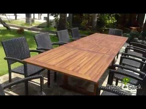 grand salon de jardin table 3 metres 10 fauteuils en résine tressée