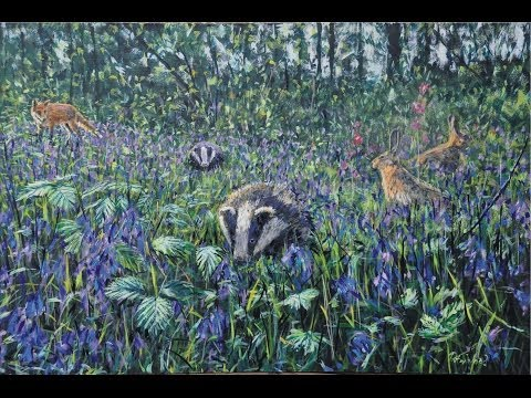 Badgers and bluebells - Rigsby wood, Alford. Oils over acrylics.