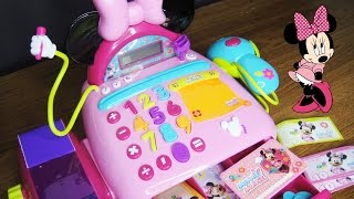 玩迪士尼 米妮老鼠 玩具收銀機 玩具鈔票 結帳台 玩具開箱