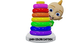 PRETEND PLAY WITH COLORFUL STACKING TOY | LEARN COLORS WITH PLEX THE KID