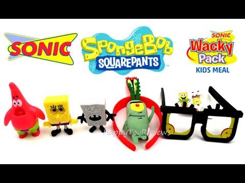 Sonic Drive In Spongebob Squarepants Set 7 Kids Meal Toys Wacky Pack