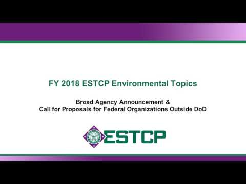 ESTCP Funding Opportunities - FY18 Environmental Technologies Solicitation