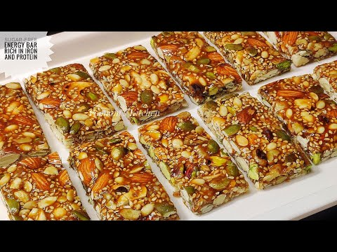 Sugar-free Iron and Protein Rich Energy Bar Protein Bar Recipe/ Granola Bar Recipe
