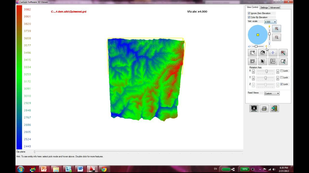 Import DEM files to CARLSON - Create Surface Profile