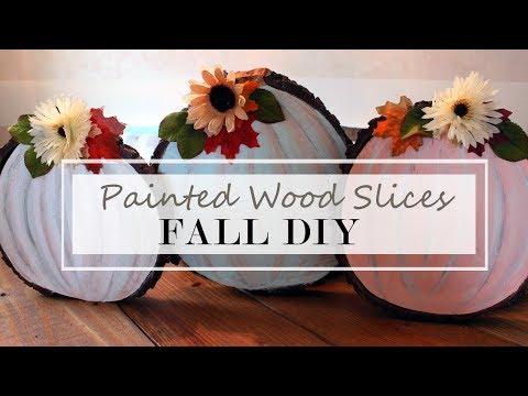 Fall Farmhouse DIY | Wood Slice Pumpkins | Paint with me!