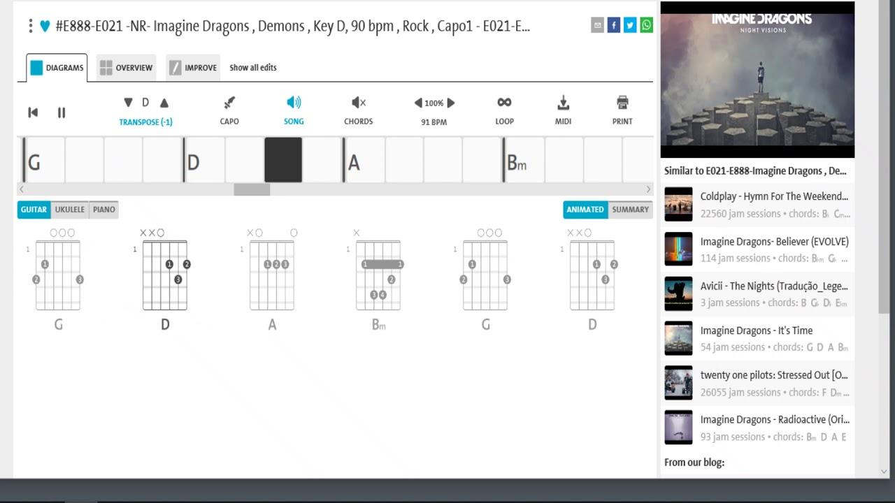 E021 E888 Imagine Dragons , Demons , Key D, 90 bpm , Rock, Capo 1