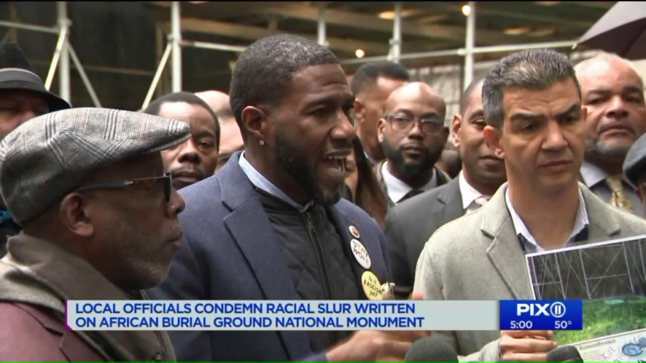 Local officials condem racial slur written on African burial ground national monument