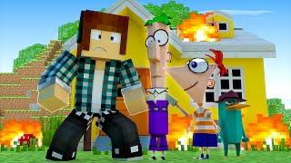 Minecraft : FOGO NA CASA DO PHINEAS E FERB !!