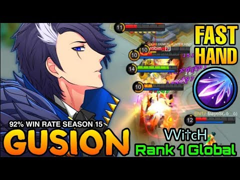 Fast Hand Combo Gusion 92% Win Rate S15 - Top 1 Global Gusion VVi†cH - Mobile Legends