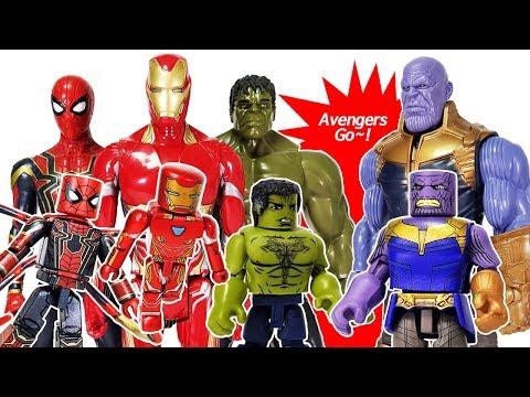 Marvel Avengers Infinity War Minimates Thanos & Iron Man, Spider Man, Hulk Toys Play