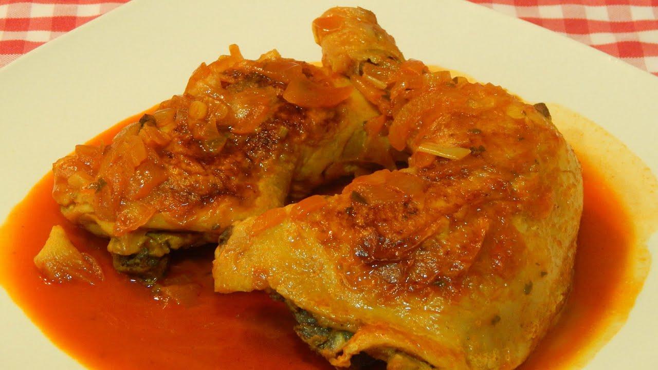 Pollo con salsa de piment n receta f cil youtube for Despresadora de pollo