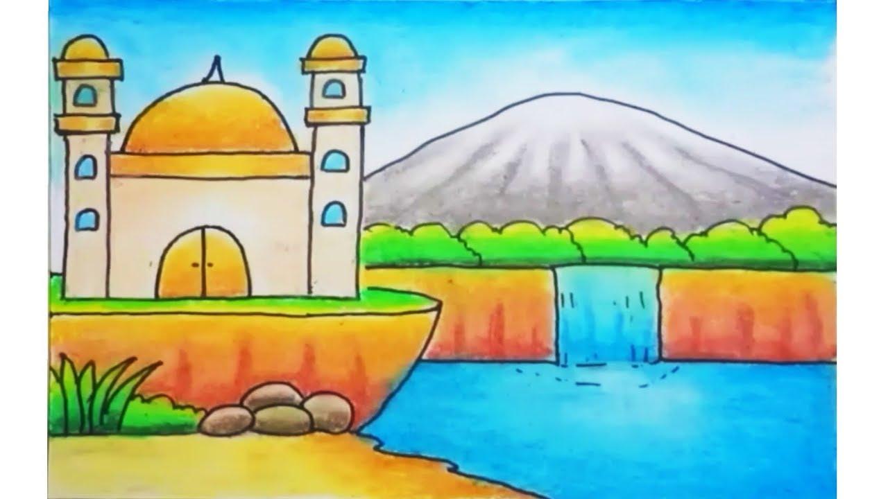 Gambar Mewarnai Cara Menggambar Masjid Yang Indah Nusagates